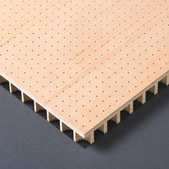 Diverse Wandverkleidung Holz ~ MDF Akustikplatte mikroperforiert ab Ø 1,0 mm, Sichtseite Melaminharz
